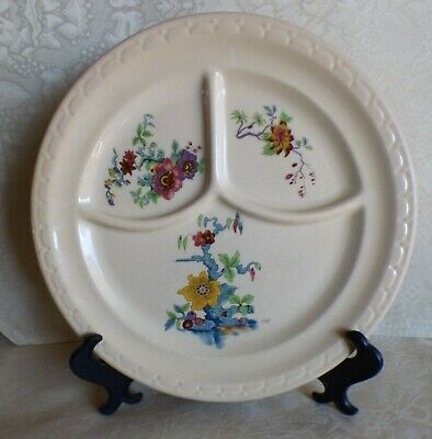 "Vintage Syracuse China Divided dinner Plate floral flowers 9.5"" eff"