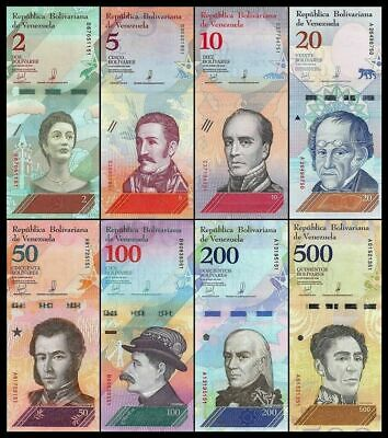 Venezuela Full Set 2, 5, 10, 20, 50, 100, 200, 500, Bolívares 2018 Pick New SC =