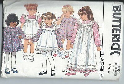 PATRON ROBE TABLIER Fille Taille 4 5 6 Ans Butterick 3554 ...