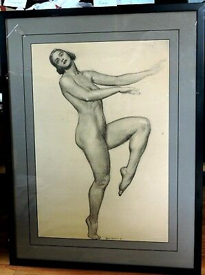 Large Pencil Drawing of a Naked Woman.  Signed ny MacMorris