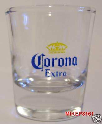 Corona Extra Beer Logo On A Clear Shot Glass