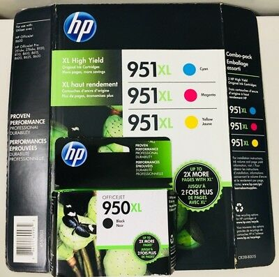 HP GENUINE 950XL Black & 951XL Color Ink 4-PACK (NO RETAIL BOX) OFFICEJET 8620