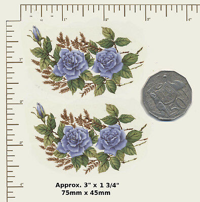 "2 x Waterslide ceramic decals Decoupage Blue / gold Roses 3"" x 1 3/4"" A23"