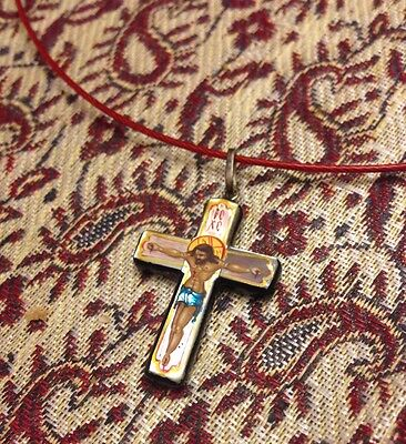 One of the kind Russian Oil  Handpainted Lacquer Jesus Cross Pendant Necklace