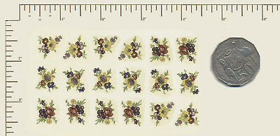 "18 Waterslide ceramic decals Decoupage Small mixed floral Approx 3/4"" x 1/2"" A25"
