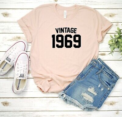 Vintage 1969 50th Birthday Announcement Custom Womens T Shirt Tee Brand New