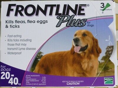 Frontline Plus 3 Pack / 3 Months Supply For Dogs 45-88 20-40KG PURPLE BOX
