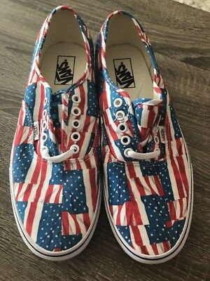 c2e3f2fb74c8 Vans Off the Wall Authentic American Free Flag Red White Blue Shoes Mens 9.5