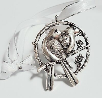 "Stunning ""Love Birds"" Crystal bridal / Wedding Good Luck charm / Gift /Keepsake"
