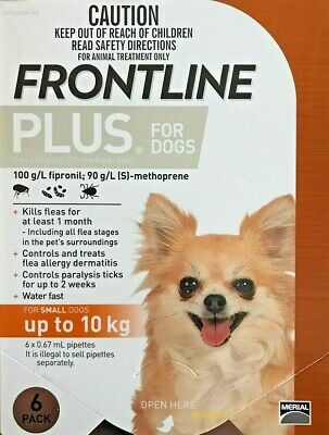 Frontline Plus Small Dogs 0-10KG 0-22LBS 6 Month Pack Orange