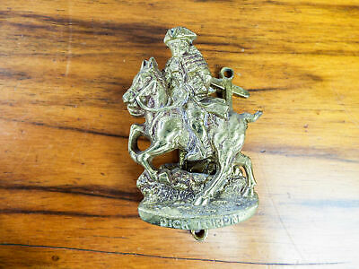 Vintage English Brass Dick Turpin Door Knocker Highwayman Metal Figure