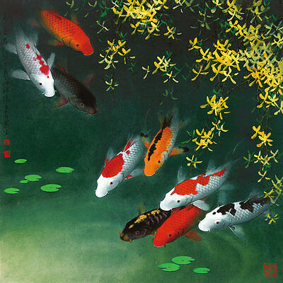 Home Art wall Decor Feng Shui Fish Koi Painting Picture Printed on canvas jdw018