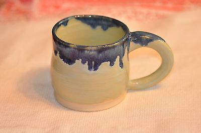 Original Pottery Hand Made Wheel Thrown Blue Drip Coffee Mug Glaze 7 oz
