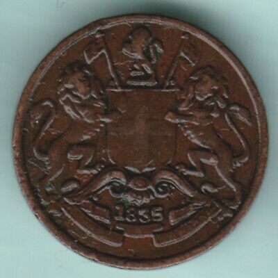 East India Company  1835  1/12  Anna  Ex Rare Coin