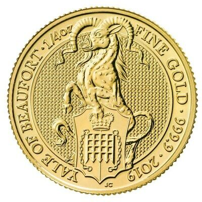 2019 Queen's Beast The Yale Of Beaufort 1/4 oz .9999 Gold BU Capsuled Coin