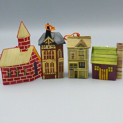 Vintage Straw Wheat & Balsa Wood Victorian House Church Christmas Ornaments