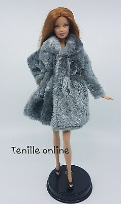 New Barbie clothes outfit jacket fur coat sweater jumper silver gray curvy
