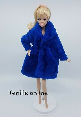 New Barbie clothes outfit jacket fur coat sweater jumper blue curvy