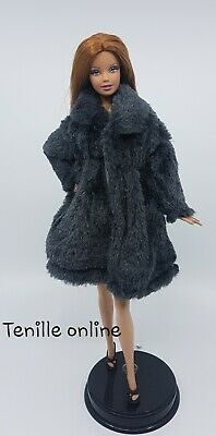 New Barbie clothes outfit jacket fur coat sweater jumper dark grey curvy