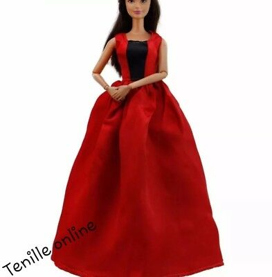 New Barbie clothes/outfit/princess/wedding gown dress red satin and shoes