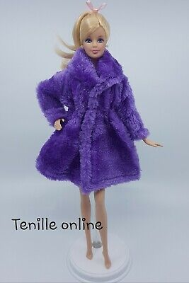New Barbie clothes outfit jacket fur coat sweater jumper purple curvy