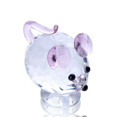 Glass Mouse Figurine Cute Small Pink Mouse Sculpture Boxed Mother's Day Gift