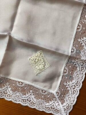 Beautiful Antique Vintage Ladies French Handkerchief Hankie Silk Lace Bride