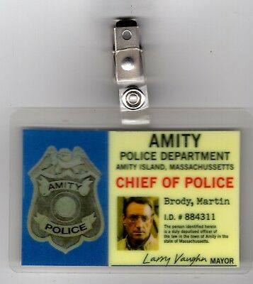 Jaws ID Badge-Chief Of Police Martin Brody costume cosplay prop