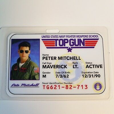 Top Gun ID Badge - Fighter Weapons School Pete Mitchell Maverick cosplay costume