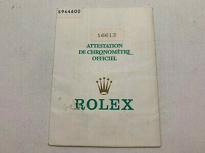 GENUINE ROLEX Submariner 16613 Guarantee warranty watch 0222005