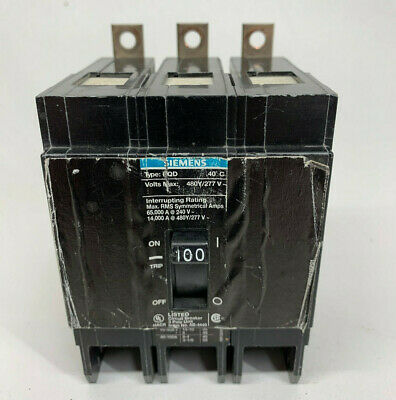 BQD3100 USED SIEMENS//ITE 100A AMP 3P POLE 480V BOLT ON BQD CIRCUIT BREAKER