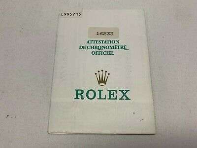 GENUINE ROLEX Datejust 16233 Guarantee warranty watch 0222007