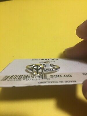 Peace Sign Love Joy Ring New Sterling Silver Rope Bali Band Sizes 8
