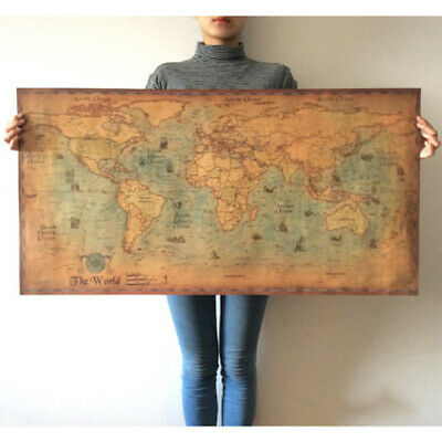 Home Decor Vintage World Map Nautical Ocean Wall Sticker Retro Old Kraft Poster