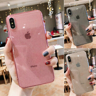 For iPhone XS Max X 8 6s 7 Plus Glitter Slim Soft Clear Silicone Back Case Cover