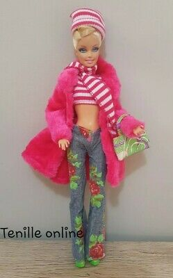 New Barbie clothes complete outfit fashion fur coat scarf shoes handbag