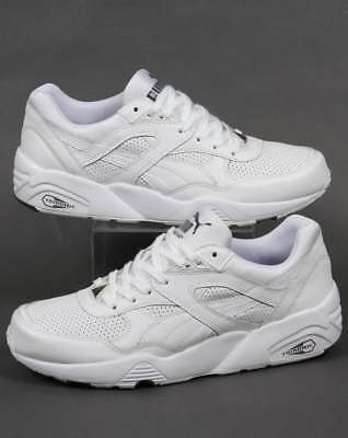 7d3c0d21b00 PUMA R698 CORE LEATHER TRAINERS WHITE WHITE Size UK 8 EU 42 NH02 59 SALEx