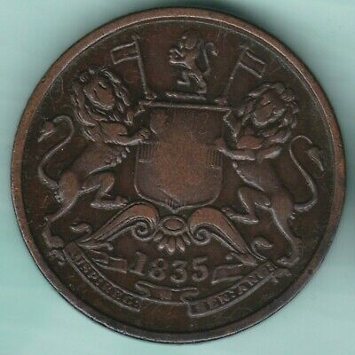 East India Company  1835  Half  Anna  Ex Rare Coin
