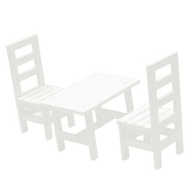 MagiDeal 1/6 Miniature Dollhouse Oblong Dining Table Chairs Furniture White