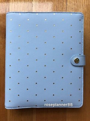 Kikki K Time is Now Soft Blue Gold Large Leather Personal Planner Diary PEN NEW