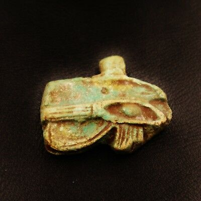 Rare Ancient Egyptian Faience Eye of Horus Amulet Figurine, 300 BC