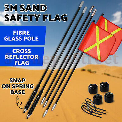 2PCS 3M Tuff Terrain Sand Safety Flag 4WD Towing Offroad Touring Simpson Desert
