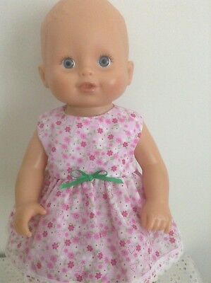 "Handmade Dolls Dress for 13"" Little Baby Born/Little Mummy Doll ~ Pink Flowers"