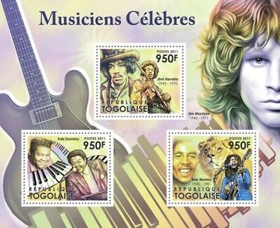 Togo 2011 Sheet Mnh Famous Musicians Musicos Famosos Singers Music Cantantes 1