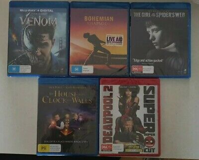 Bulk 5x New Blu-Rays (Bohemian Rhapsody, Venom, The Girl In The Spiders Web