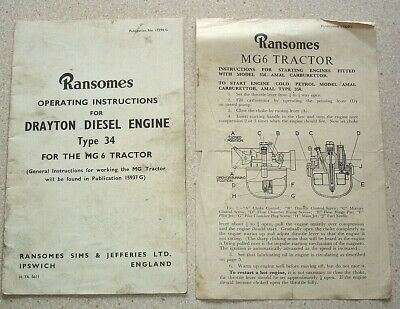 Ransomes Drayton Diesel Engine for the MG 6 Tractor. Operating Instructions