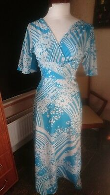 Fab Vintage 1970s  Maxi Dress Stretchy Turquoise Blue White Floral Sleeves 10 BN