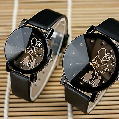 Fashion Couple Watch Leather Strap Line Analog Quartz Ladies Wrist Watches Gift