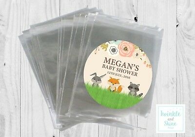 12 x Woodland, Neutral, Baby shower Bags & Personalised Stickers Favour Kit