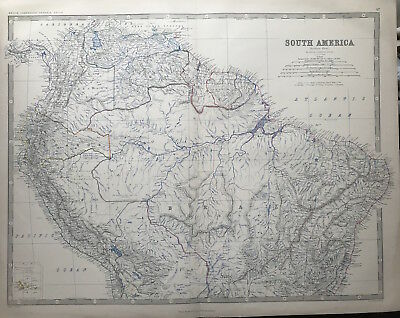 Original Antique Map SOUTHERN AMERICA c1869 by A K Johnston Royal Atlas, folio